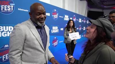 NFL Legend Emmitt Smith on the Blue Carpet at Super Bowl Music Fest